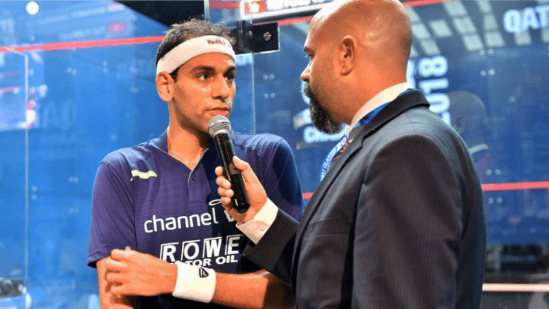Andy Taylor Announcer 2018 Qatar Classic Round 2 Victory Mohamed ElShorbagy