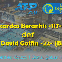 Announcer Andy Taylor. Qatar ExxonMobil Open 2019. Day 2. Round 1. Match 1. Berankis def Goffin
