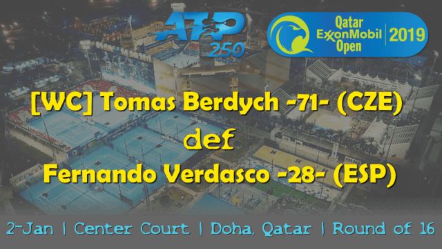 Tennis Emcee Andy Taylor. Qatar ExxonMobil Open 2019. Day 3. Round of 16. Match 4. Berdych def Verdasco