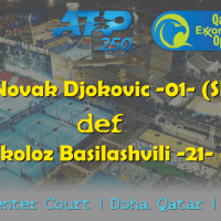 Announcer Andy Taylor. Qatar ExxonMobil Open 2019. Day 4. Quarterfinals. Match 2. Djokovic def Basilashvili
