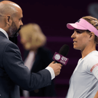 Announcer Andy Taylor. Qatar Total Open 2019. Day 3 Round of 16 Kerber
