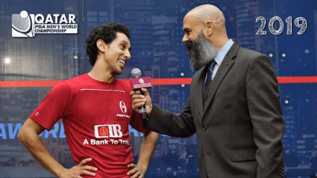 Andy Taylor Announcer. 2019 Qatar PSA Mens World Champion Tarek Momen