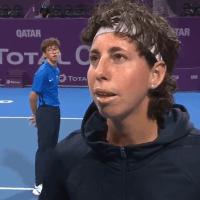 Announcer Andy Taylor. Tennis Interviews. Doha 2020. Carla Suarez Navarro's Final Match