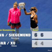 Announcer Andy Taylor. 2020 US Open. Doubles Champions Vera Zvonareva Laura Siegemund