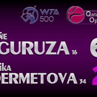 Announcer Andy Taylor. Qatar Total Open 2021. Round 1 Garbine Muguruza defeats Veronika Kudermetova