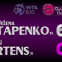 Announcer Andy Taylor. Qatar Total Open 2021. Round 1 Jelena Ostapenko defeats Kiki Bertens