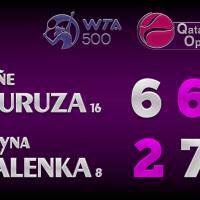 Announcer Andy Taylor. Qatar Total Open 2021. Round 2 Garbine Muguruza defeats Aryna Sabalenka