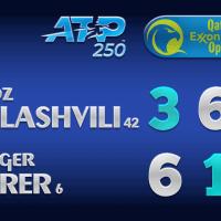 Announcer Andy Taylor. Qatar ExxonMobil Open 2021. Quarterfinal Nikoloz Basilashvili defeats Roger Federer