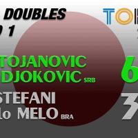 Announcer Andy Taylor. Tokyo 2020. Round 1. Nina Stojanovic and Novak Djokovic defeat Luisa Stefani and Marcelo Melo
