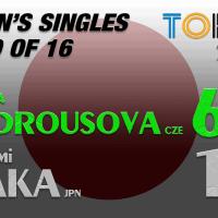 Announcer Andy Taylor. Tokyo 2020. Round of 16. Marketa Vondrousova defeats Naomi Osaka
