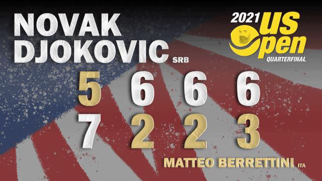 Announcer Andy Taylor. 2021 US Open. Quarterfinals. Novak Djokovic defeats Matteo Berrettini