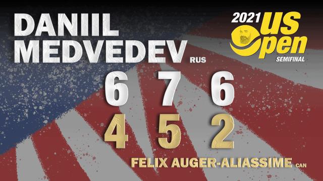 Announcer Andy Taylor. 2021 US Open. Semifinals. Daniil Medvedev defeats Felix Auger-Aliassime