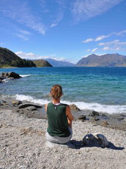 at our campsite in Hawea Lake
