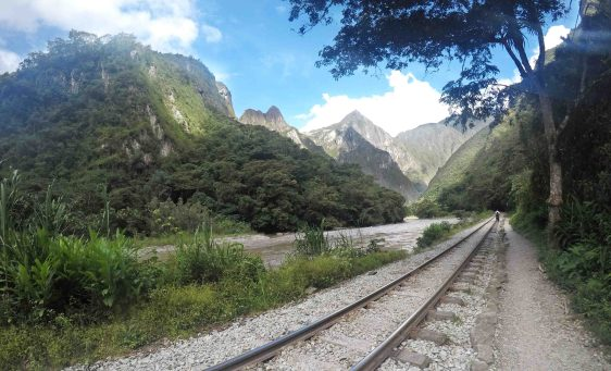 walking to Aguas Calientes along the trail lines