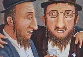Анекдоты про еврейские - Рабинович с другом пришли на кладбище