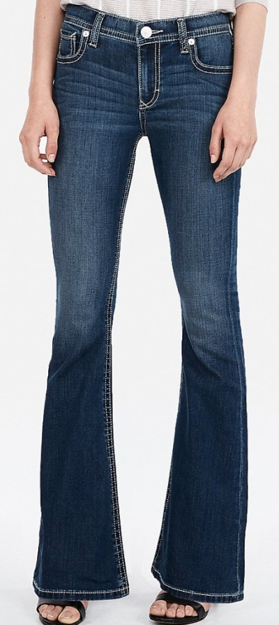 Mid Rise Thick Stitch Stretch Bell Flare Jeans