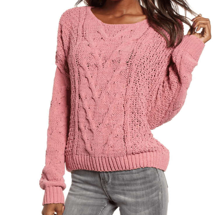 Woven Heart Cable Knit Sweater