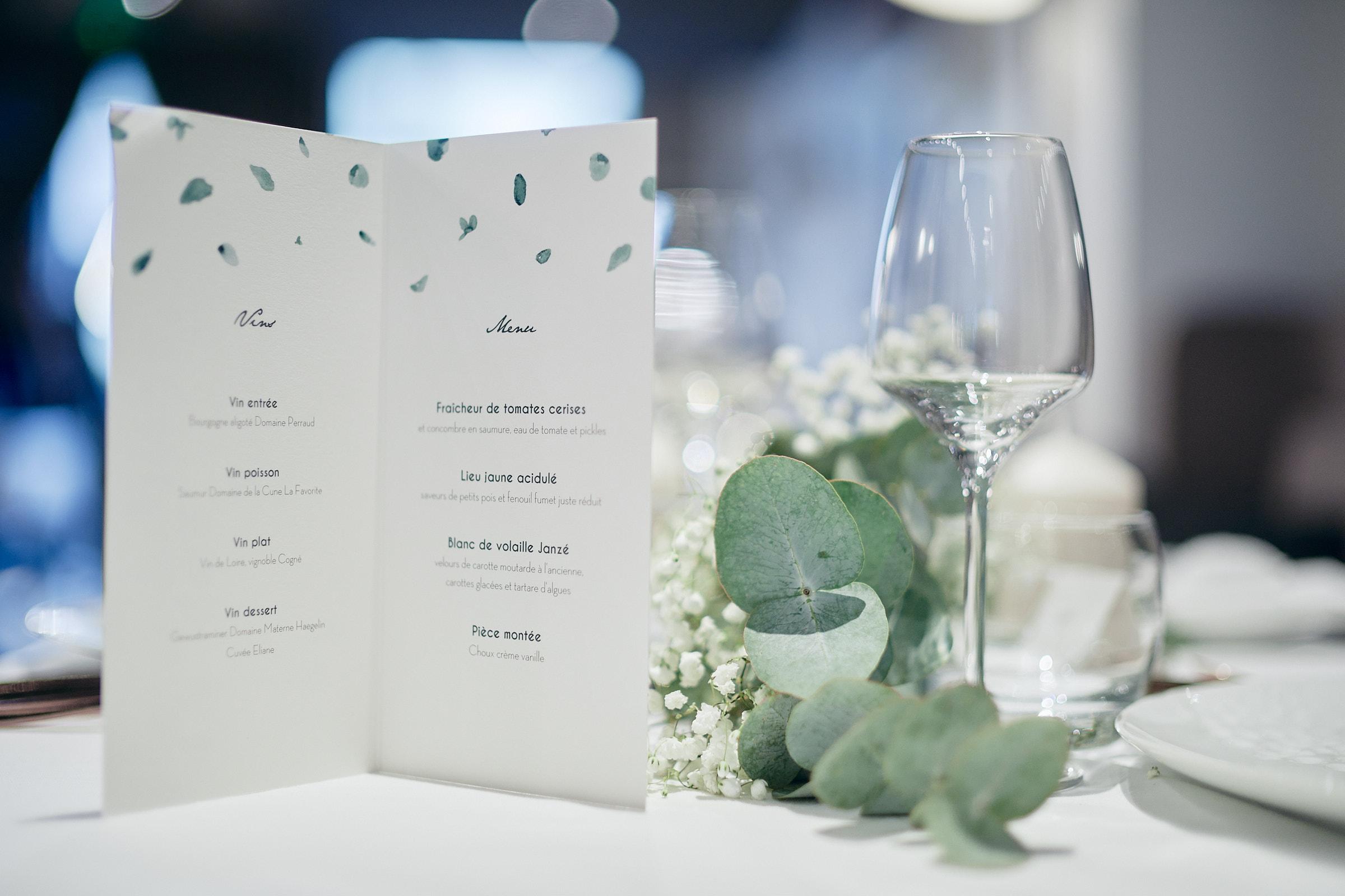 menu du repas de mariage à la table de balthazar à rennes