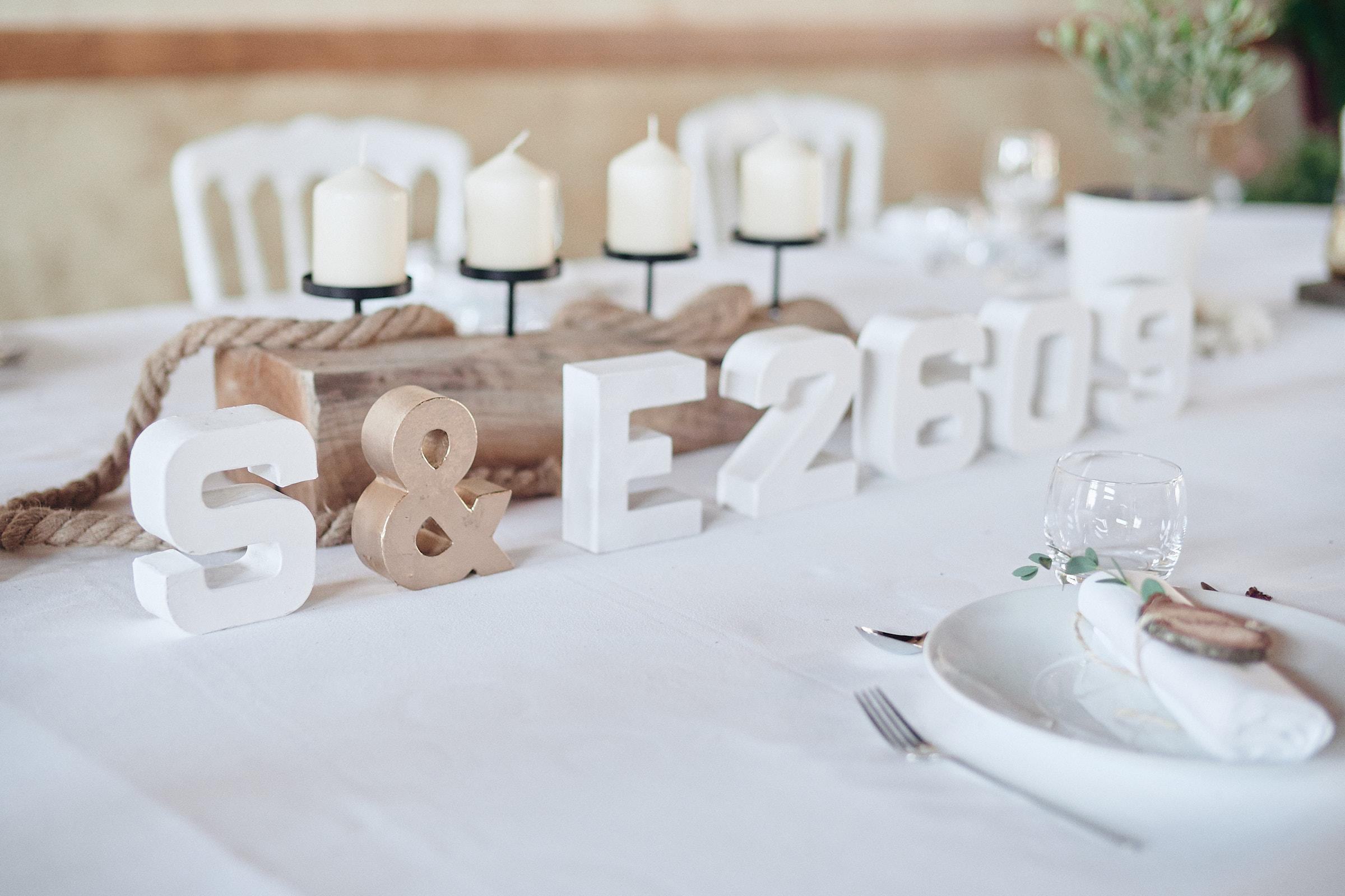 décoration de la table des mariés au chateau de craon