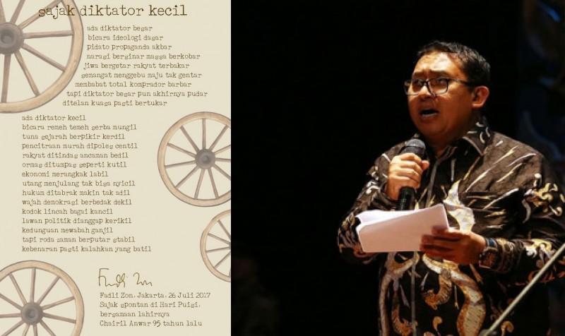 """Fadli Zon Tulis """"Sajak Diktator Kecil"""", Setkab: Untuk Siapa?"""