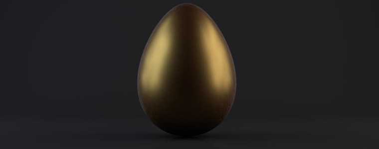 Golden Egg on black background