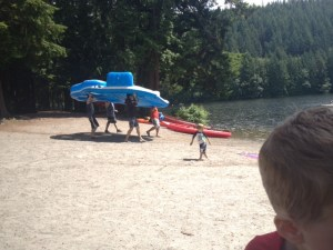 Camping with kids at Alice Lake make sure to bring a giant floating raft