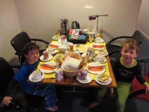 ema house breakfast was epic there was so much food and my kids loved it