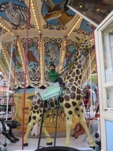 big giraffe carousel in tivoli gardens in Denmark