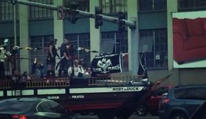 pirate ship stuck in traffic in Seattle