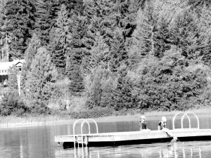 sitting on the dock at Alta Lake