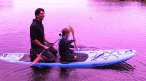 paddle boarding with dad