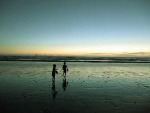 running at night at Kalaloch Beach