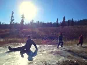 playing on ice in Snoqualmie Pass