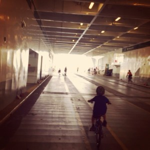biking onto a ferry with kids