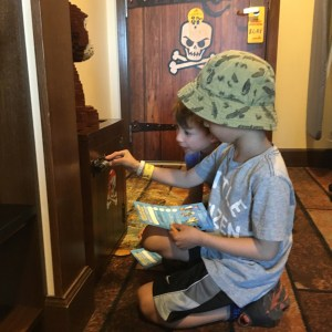 Kids opening safe at Legoland hotel in California