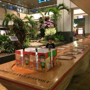 Coloring stations for kids at Singapore's Changi airport