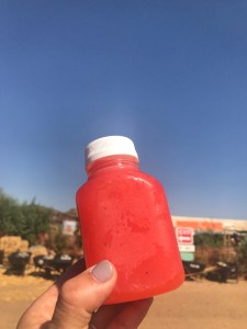 Freshly Made strawberry lemonade at Tanaka Farms in Irvine