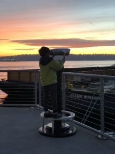 View from PIer 54 near Ivar's Acres of Clams in Seattle with kids