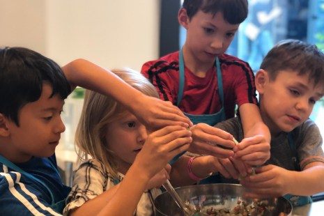 kids learn to cook while you shop at Uvillage in Seattle at Froglegs Culinary Academy