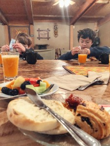 Breakfast after an evening of glamping at Safari West