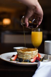 eating pancakes at brunch at Eques Restaurant in the Hyatt Regency Bellevue
