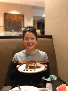 tiramisu pancakes at Eques Restaurant in Bellevue, a great place to eat with families