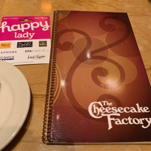 Using a Happy Lady Happy Card at Cheesecake Factory in Seattle-this gift card can be used at a variety of merchants and makes a great experience gift