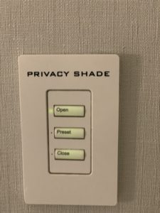 privacy shade for the tub at Loews hotel 1000 closes off the bathroom so that there is privacy