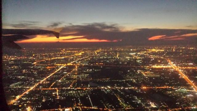 Bangkok aften set fra fly