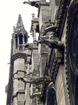 A view of the gargoyle downspouts.