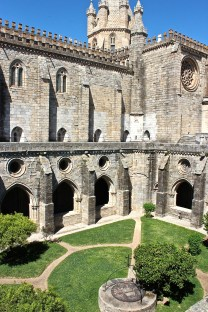 The cloister provides a shady retreat on a hot day.