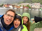Behind us are the Medieval wooden warehouses collectively known as Bryggen (the pier).