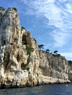 The Calanques are steep-sided, narrow inlets or coves made up of limestone or dolomite. They look a bit like fjords, but weren't made by glaciers but by rivers that cut steep-sided valleys, which eventually became flooded by the sea.