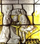 "The ""chess players"" stained glass window is a metaphor for an amorous conquest. Love the headdresses."